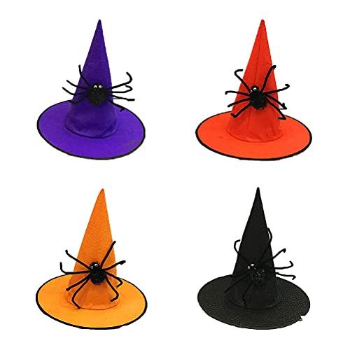 Gyj&mmm 4 Piezas de Sombrero de Bruja de Halloween, Sombrero de Mago de Halloween Disfraces de Halloween Sombrero de Mago de Bruja Sombrero de Cono de Bruja Adulta Sombrero de Bruja Naranja