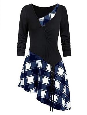 ZEZCLO Women's Asymmetrical Plaid Tunic Shirts Skew Neck Ruched Lace Up Sweatshirts Blouse Tunic Tops