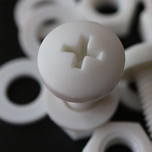 20 x Vis à tête cylindrique Philips Polypropylène Blancs (PP) Ecrous et boulons en plastique, M8 x 20mm, Rondelles, acrylique, résistant à l'eau, anti-corrosion, résistant aux produits chimiques