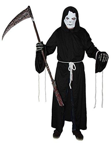 Foxxeo Sensemann Kostüm mit Maske für Herren - Größe S-XXXL - Sensenmann Halloween Kaputzen Umhang Karneval Fasching Größe XXXL