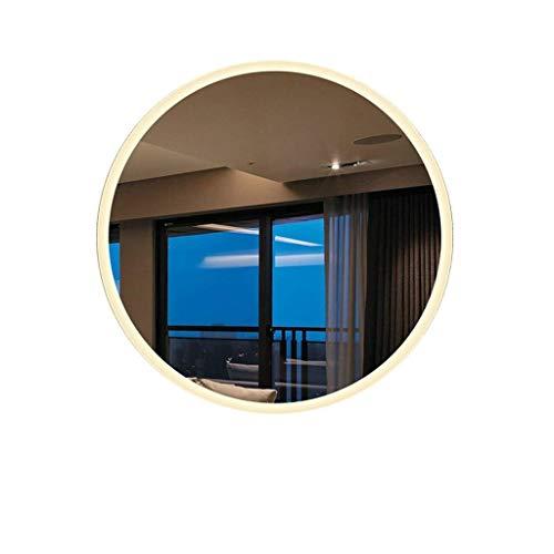 DERUKK-TY Espejo de pared para el hogar y baño antivaho montado en la pared, espejo de maquillaje iluminado con luz LED, tira de luz impermeable (color: luz cálida, tamaño: 80 x 80 cm)