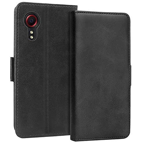 KUAO Handyhülle für Galaxy Xcover 5 Hülle Leder, [Classic Wallet Serie] mit Magnetverschluss Standfunktion Schutzhülle Tasche Klapphülle Kompatibel mit Samsung Galaxy Xcover 5/5s, 5.3 Zoll (Schwarz)
