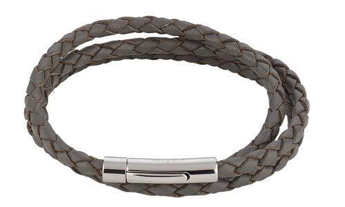 Pulsera de piel trenzada, color gris, tres filas, longitud aprox. 63 cm acero inoxidable cierre magnético Número de modelo 4191