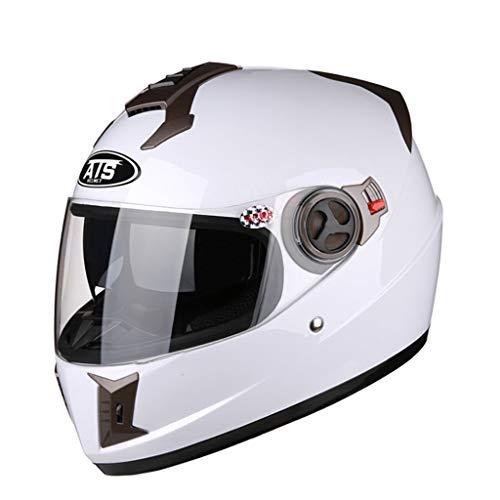 ZXW Casque- Casque de moto Casque de miroir anti-brouillard universel transparent Four Seasons pour hommes (Couleur : Blanc-XL)