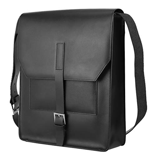 XWEM Fashion Leather Messenger Backpack,Men's Shoulder Bag13 Inch Laptop Knapsack Large Capacity Business Office Briefcase Clamshell Design