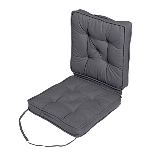 HOMESCAPES Grey Travel Booster Cushion Large Firm 50 cm Square Seat Pad and Backrest Luxury Thick Soft Charcoal Grey Cotton Supportive Car Cushion For The Elderly, Post-Operative and Lumbar Support