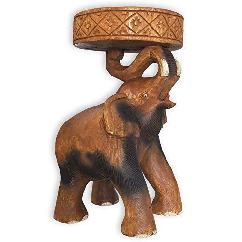 wifash Beistelltisch Elefant Podest Blumenständer Hocker Wohnzimmer Holztisch