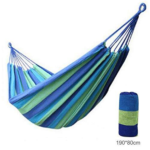 Hamaca de algodón de Lona a Rayas Adulto Capacidad de Carga, con Bolsa para Viaje Camping Jardín,B,190cm*80cm