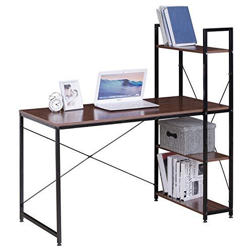 eSituro SCD0069 Schreibtisch Computertisch Bürotisch Arbeitstisch mit Ablage Holz Stahl Dunkel Buche