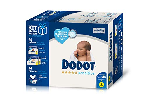 Dodot Sensitive Kit Recién Nacido: Paquete de Pañales Talla 1 (2-5 kg) + Dos Paquetes Talla 2 (4-8 kg) + 54 Toallitas Dodot Sensitive con Caja Dispensadora de Regalo
