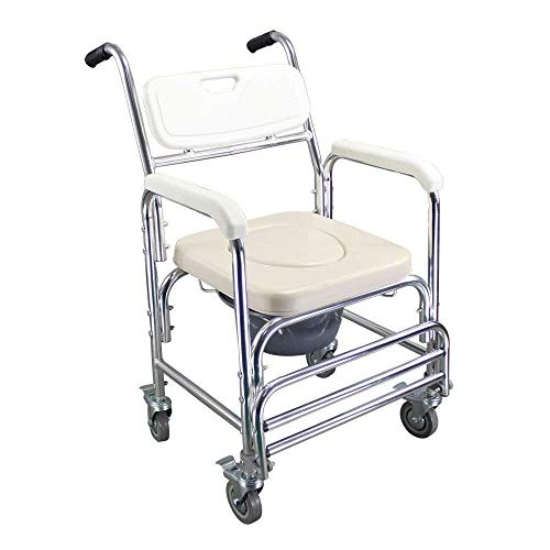 Bathroom Wheelchairs RRH Bedside Commodes 4-in-1 Transport Bedside Toilet with Wheels and Foldable footrest, Elderly Waterproof Shower Toilet