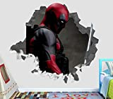 BAOWANG Wandtattoo Deadpool zertrümmert Wall Decal 3D Aufkleber Dekor Vinyl Smash Marvel Movie Comics