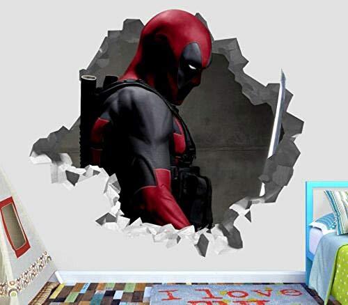 BAOWANG Wandtattoo Deadpool zertrümmert Wall Decal 3D Aufkleber Dekor Vinyl Smash Marvel Movie Comics