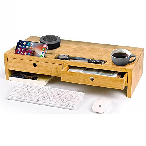 Bakaji Stand Supporto Monitor Laptop Notebook bamboo Porta Monitor in Bambù con Cassetti Organizzatore Spazio di Archiviazione per Tavolo Scrivania (56 x 27 x 12.5 cm)