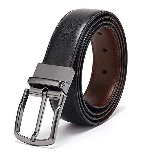 Eliz Luxe Belts for Men Reversible Leather 1.25 Waist Strap Fashion Dress Buckle Eliz Luxe (34)
