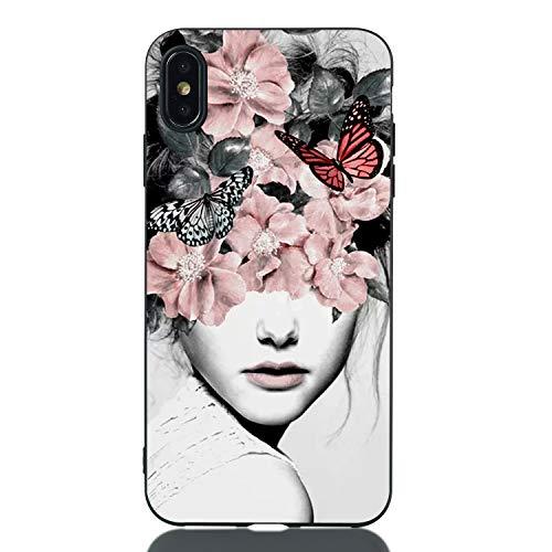 Everainy Coque Compatible pour iPhone XS/iPhone X Silicone Housse Étui Drôle Motif Souple Bumper Ultra Mince Fine Etui Caoutchouc Antichoc Case (Fille 1)