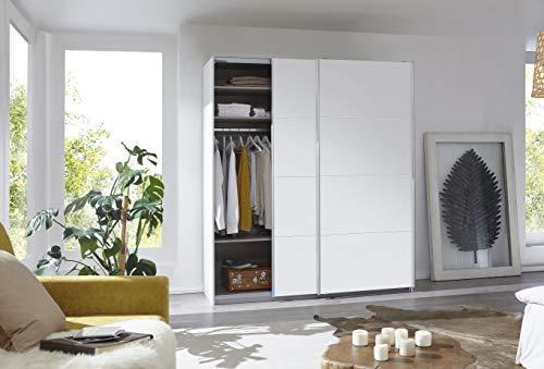 Rauch Möbel Caracas Schrank Kleiderschrank Schwebetürenschrank Weiß 2-türig inkl. Zubehörpaket Basic 2 Einlegeböden, 2 Kleiderstangen, BxHxT 181x210x62 cm