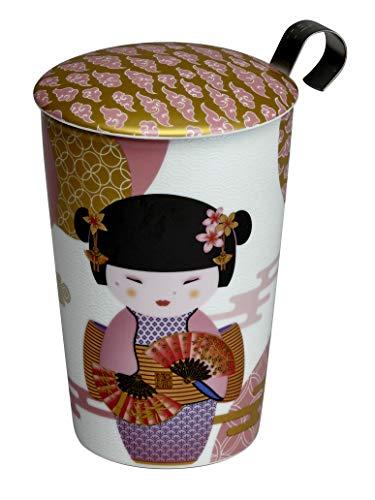 Eigenart TEAEVE Teetasse, Becher mit Sieb + Deckel, New Little Geisha Rose im Geschenkkarton