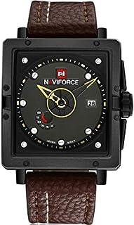 نافي فورس ساعة عملية كاجوال، رجال انالوج بعقارب جلد- NF9065.1