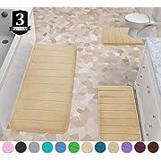 Yimobra 3 Pieces Memory Foam Bath Mats Set, XL, L and U-Shaped Size for Bathroom or Bedroom Rugs, Tub, Contour Toilet Mats, Non-Slip, Soft Comfortable, Maximum Absorbent, Machine Washable
