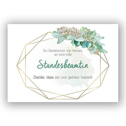 """A6 Postkarte """"Ein Dankeschön von Herzen, an eine tolle Standesbeamtin. Danke, dass du uns getraut hast!"""" in pastellgrün/gold Glanzoptik Papierstärke 235 g / m2 Geschenk für Standesbeamtin"""