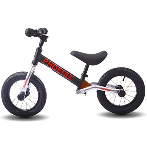 ZAQ Prima Bicicletta Bici Senza Pedali Bicicletta Black/Blue Push Bike - Specialized No-Pedals Equilibrio Bici Bicicletta per Ragazzo, in Alluminio (Colore : Nero)