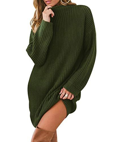 Maglione Vestito Donna Lungo Maglioni Lunghi Pullover Maglieria Golfino Donna Maglioncino Maglia Trecce Pesanti Larghi Vestiti Corti Invernali Maxi Pull Maglio Maglie Autunno Inverno Eleganti Verde L