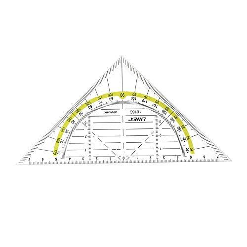 LINEX 100414085 Geodreieck 16 cm für Schule und Büro 1616G Geometrie-Dreieck GEO 180 Grad mit mm Skala