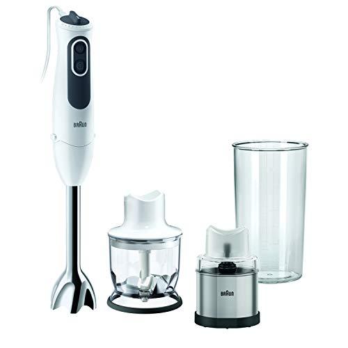 Braun MQ3126 Spice Hand Blender, Mixer, Variable Speed Control, Anti-Splash, Dishwasher Safe Parts, Includes Three Attachments - Coffee/Spice Grinder, Chopper, BPA-Free Plastic Beaker - White