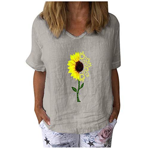 Damen Tops Casual Kurzarm T-Shirt mit Sonnenblumenmuster und V-Ausschnitt Baumwolle Leinen Lose Tunika Bluse(XXXL,Grau)