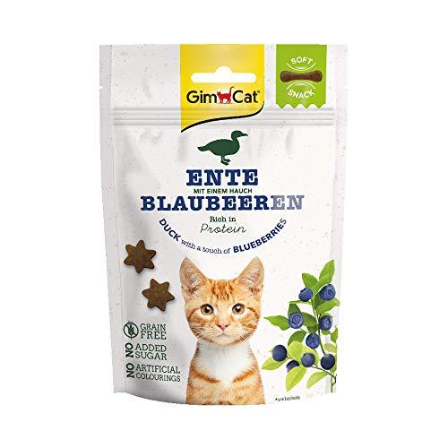 GimCat Soft Snack Ente mit Blaubeeren - Weiches und proteinreiches Katzenleckerli ohne Zuckerzusatz - 1 Beutel (1 x 60 g)