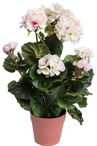 DPI künstliche Geranie (Geranienbusch) mit 9 Stielen und 7 Blütenköpfen in braunem Kunststofftopf Farbe: Creme-weiß-pink Mix