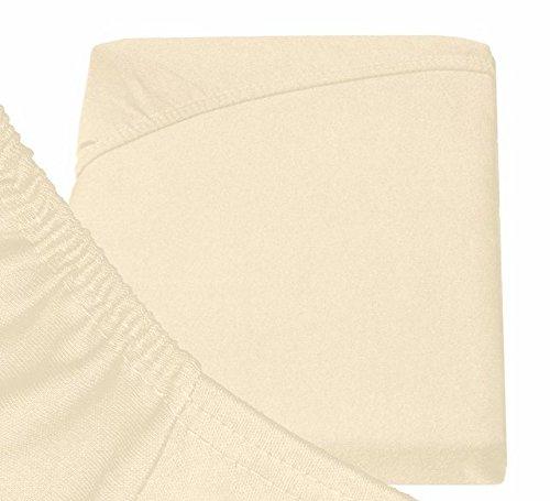 Double Jersey – Spannbettlaken 100% Baumwolle Jersey-Stretch bettlaken, Ultra Weich und Bügelfrei mit bis zu 30cm Stehghöhe, 160x200x30 Natur Weiss - 6