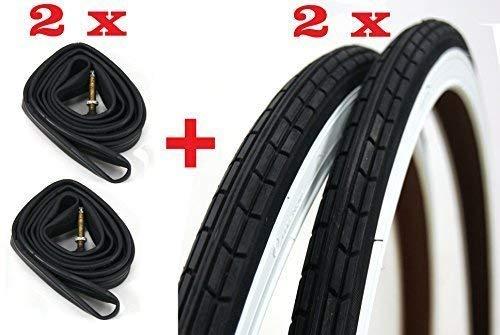 2X Neumáticos + 2X Cámaras de Aire para Bici Bicicleta/Tamaño 28 X 1 5/8-1 3/8 (700 X 35) - en Blanco - Negro/Neumático Bicicleta Cámara de Aire Bicicleta