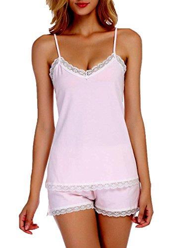 Chamllymers Women's Cotton Cami and Shorts Pajama Set Sleeveless Sleepwear Set Lace Nightwear Top Pink S