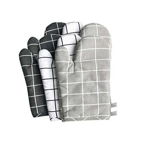 Puyong Plaid Oven Mitts, 2 Heat Resistant Kitchen Mitts for Baking Cooking Grilling, Cotton & Polyester Oversized Mittens