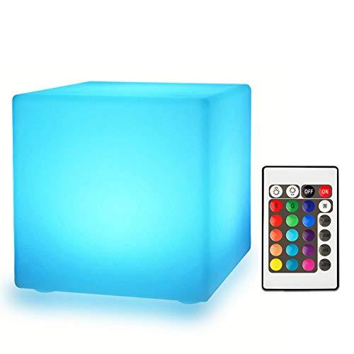 MRXUE Rechargeable Couleur changeant LED Humeur lumière Cube avec télécommande, imperméable à l'eau intérieur/extérieur LED veilleuse Tabouret, Home Party éclairage décoratif,15cm*15cm*15cm