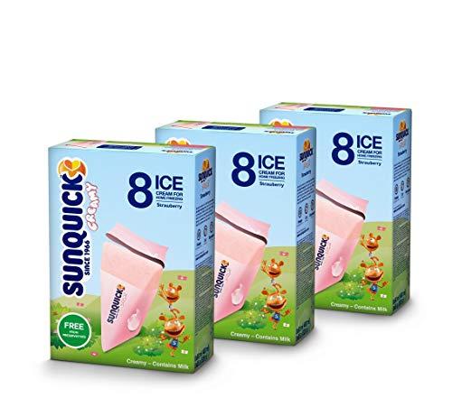 Sunquick creamy Wassereis mit Milch 3er Pack (24x60ml) (Erdbeere)