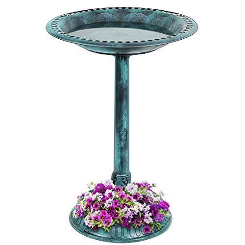 VIVOHOME 28 Inch Height Polyresin Lightweight Antique Outdoor Garden Bird Bath with Flower Planter Base Green