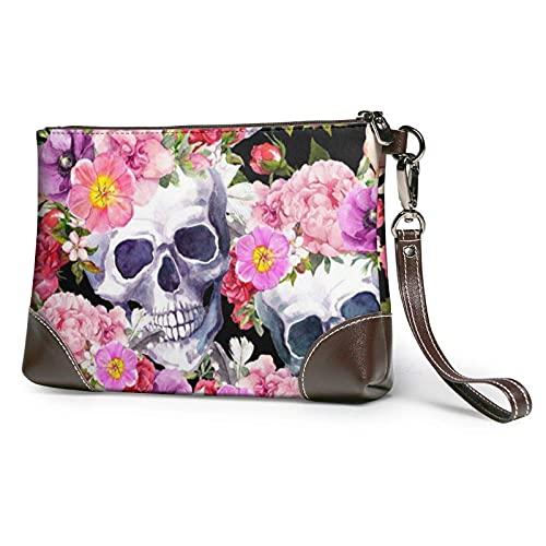 XCNGG Sugar Skull Printed Clutch Purse Detachable Leather Wristlet Wallet Bag Women Handbag