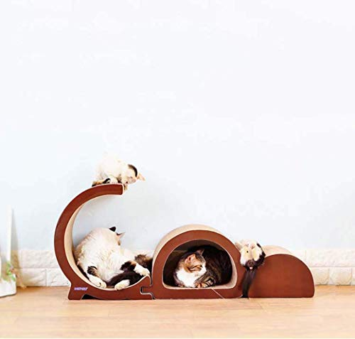 Qazxsw GD Kombination Cat Scratch Board, Wellpappe Big Cat Toy Claws, 3 Sätze Kletterrahmen Senden Sie eine Packung Katzenminze