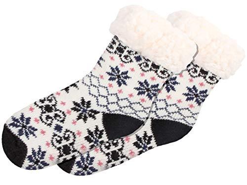 Alsino Norweger Socken 1 Paar Hüttensocken Wintersocken Kinder Jungen, Weiß Schwarz Blau - 30-35 Home Socks Stoppersocken SO-W-107-4