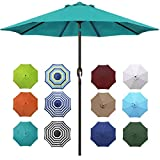 Blissun 9' Outdoor Aluminum Patio Umbrella, Market Striped Umbrella with Push Button Tilt and Crank (Cerulean)