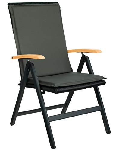 Brandsseller Garten-Stuhlauflage ca. 50 x 110 cm Hochlehner Auflage für Stühle Anthrazit