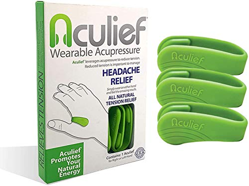 Aculief Wearable Acupressure for Headache and Migraine Relief, All-Natural Muscle Pain and Tension Relief, Travel-Friendly to Support Acupressure Relaxation, 3 Pack (Green)