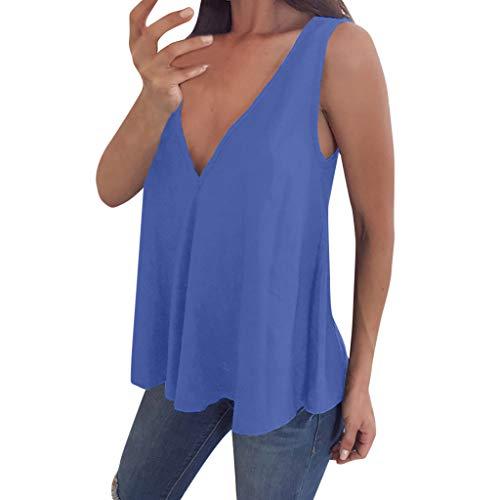 VEMOW Cami Tops Camiseta con Cuello en V para Mujer Camiseta sin Mangas Chaleco de Verano Blusa Talla Grande(Azul,M)