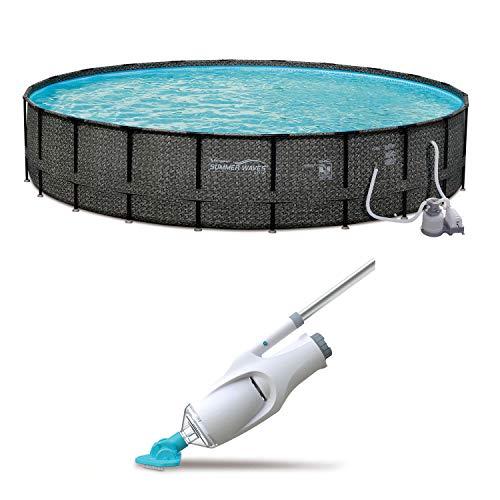 Summer Waves Elite 24ft x 52in Pool Set + Kokido Telsa 5 Handheld Pool Vacuum