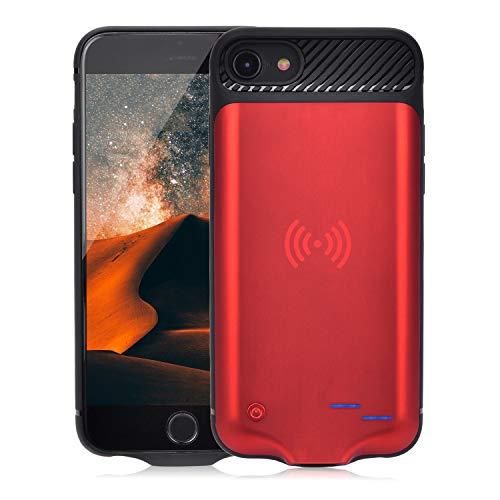 Qi Akku Hülle für iPhone 6 6S 7 8, 3800mAh Tragbare Drahtlos Ladebatterie Zusatzakku Externe Handyhülle Batterie Wiederaufladbare Schutzhülle Power Bank Akku Case für iPhone 8/7/6S/6 [4,7 Zoll] (Rot)
