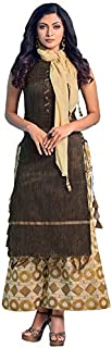 ILAICHI Designer Brown Chanderi Cotton Top With Fancy Palazzo And Scarf Georgette Dupatta