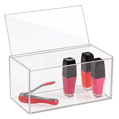 iDesign Organizador de maquillaje con tapa, organizador de cosméticos de tamaño mediano en plástico libre de BPA, caja para maquillaje apilable, transparente